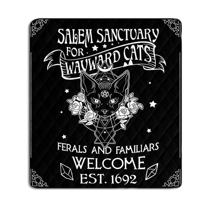 Salem Sanctuary For Wayward Cats Ferals And Familiars Welcome Est.1692 Quilt G34