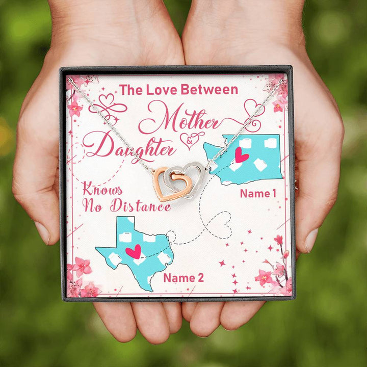 The Love Between Mother And Daughter No Distance Interlocking Heart Necklace