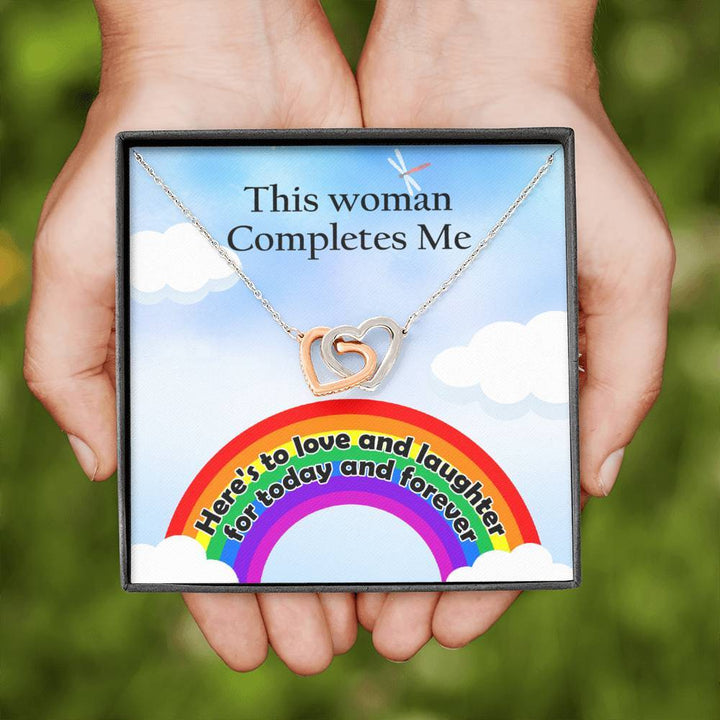 Lgbt This Woman Completes Me Interlocking Heart Necklace Jewelry