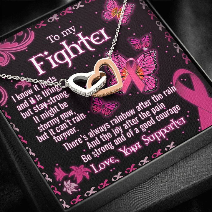To My Breast Cancer Wife Interlocking Heart Necklace Standard Box Jewelry