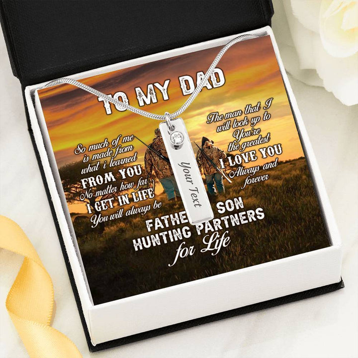 Father And Son Hunting Partners For Life Birthstone Necklace With Pod Message Card Jewelry