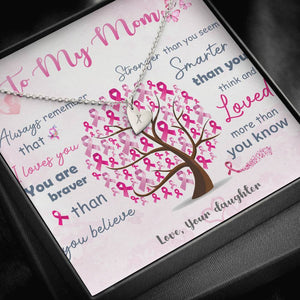 Breast Cancer Awareness To My Mom Necklace Sterling Silver - 1 Heart Jewelry