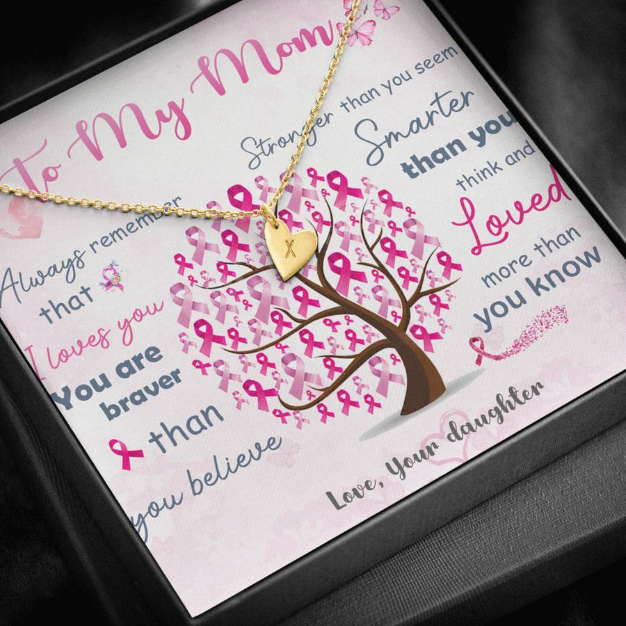 Breast Cancer Awareness To My Mom Necklace 18K Yellow Gold Finish - 1 Heart Jewelry