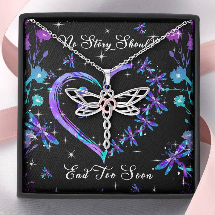 No Story Should End Too Soon Dragonfly Necklace