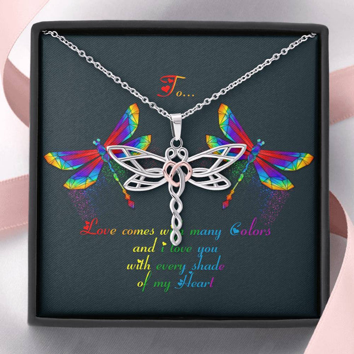 Love Comes With Many Colors Personalized Dragonflies Necklace Jewelry