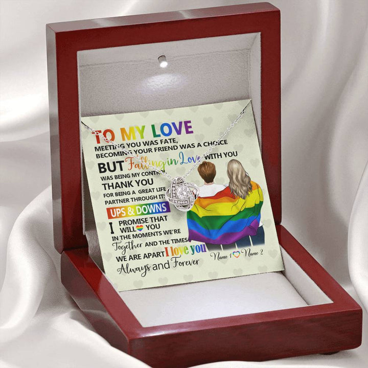 Lgbt To Beloved Interlocking Heart Necklace With Pod Message Card Jewelry