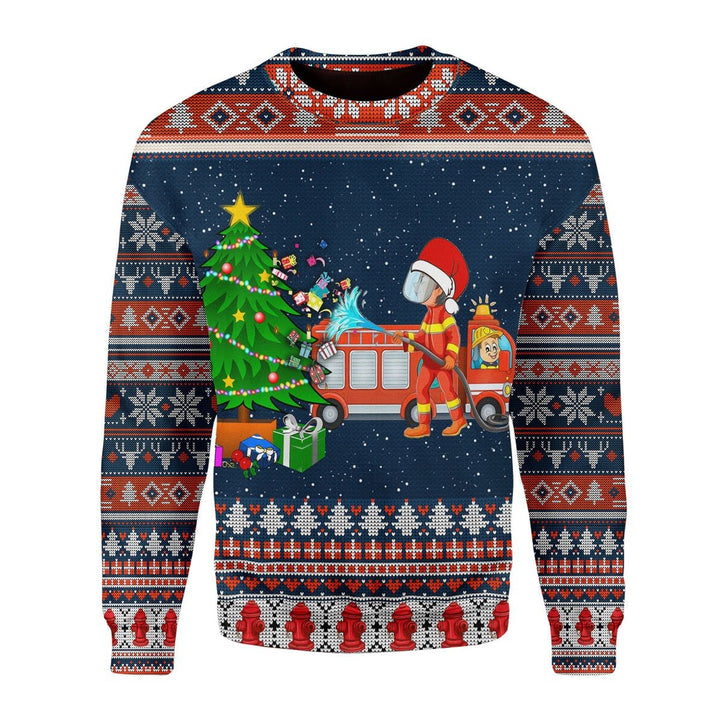 Firefighter Presents Ugly Sweater / S Kd249