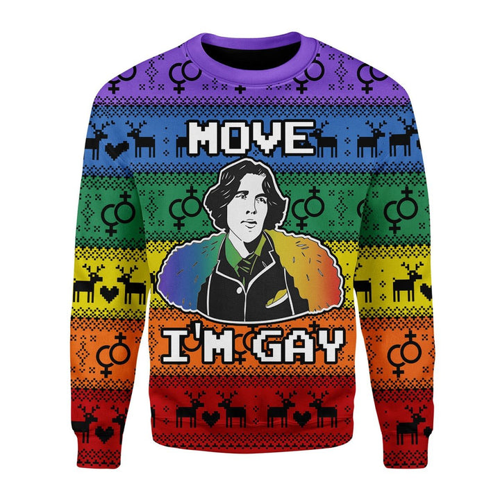 Move Im Gay Christmas Ugly Sweater / S G639