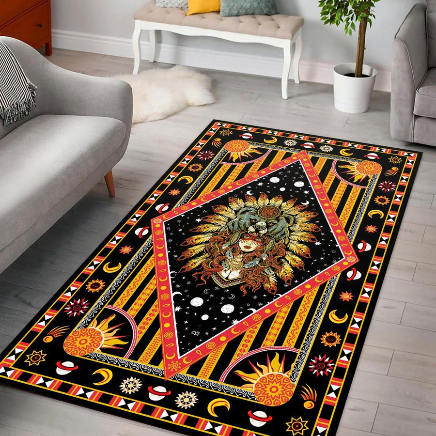 Native American Culture Girl Rug / Small (3 X 5 Feet - 35 59 Inches) Kd165