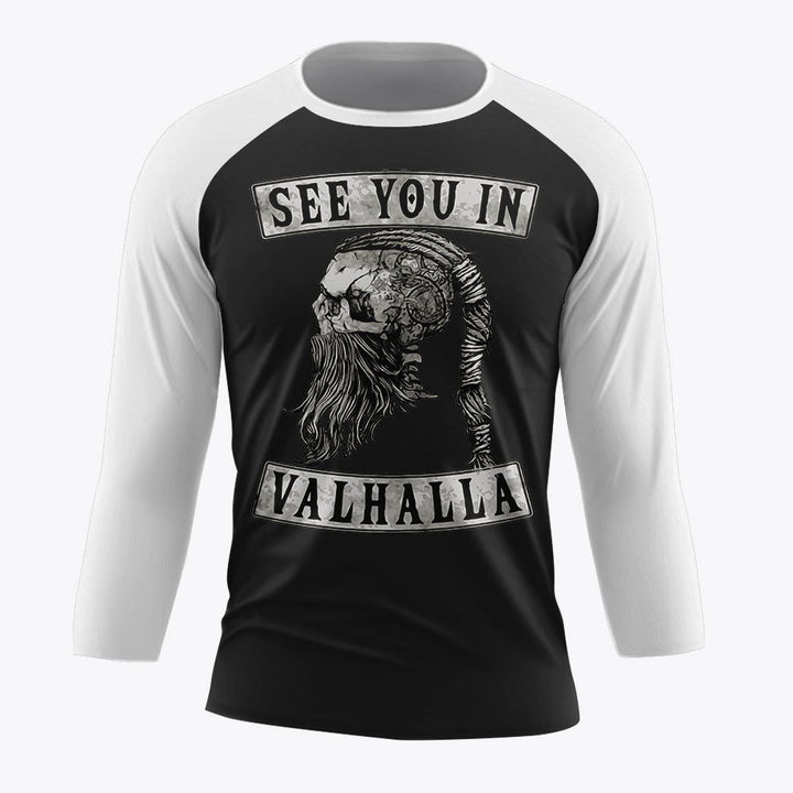 See You In Valhalla T Shirt Funny Viking Raven Oidin Raglan 3/4 Sleeve / Xs Qm1845