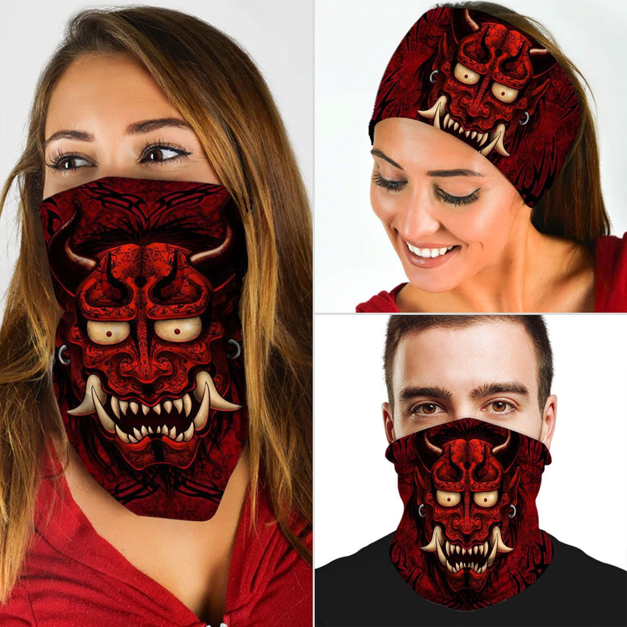 Gothic Red Oni Japanese Demon Tattoo Neck Gaiter & Horns Headband Qm890