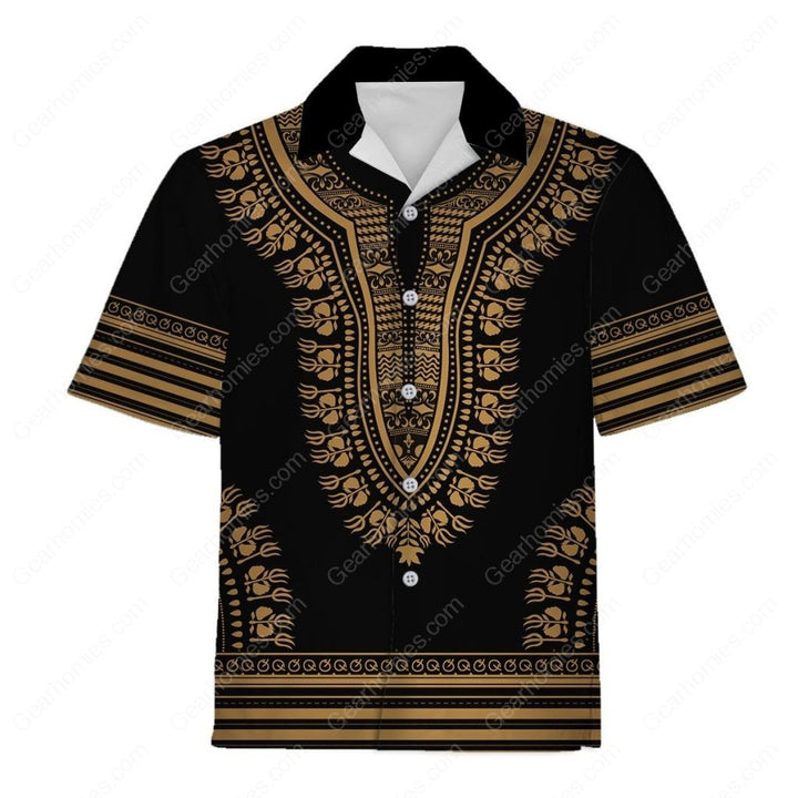 Gold African Dashiki Hawaiian Shirt / S Qm560