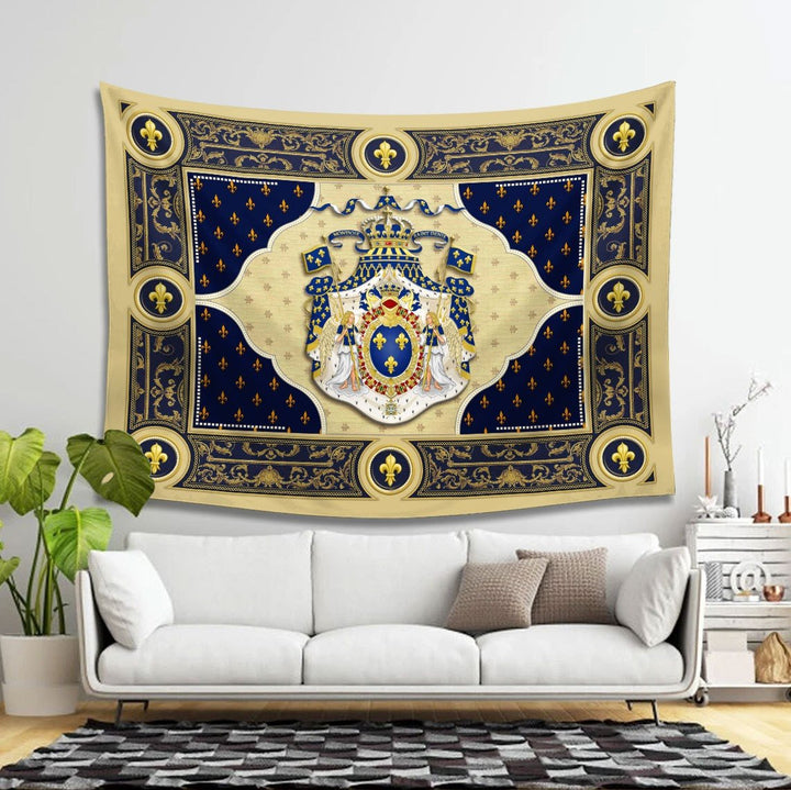 Louis Xiv Coat Of Arms Tapestry Qm1440 - 4 Holes / S (27.6 X 39.4 Inches 2.3 3.2 Feet)