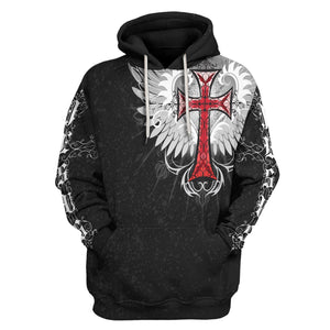 Jesus Old English Red Cross Hoodie / S Qm1369