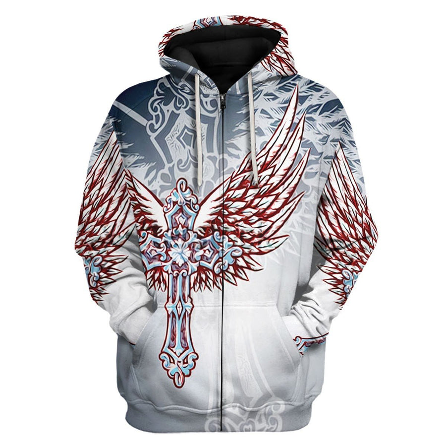 Christian Ornate Filigree Cross Angel Wings Zip Hoodie / S Qm1265