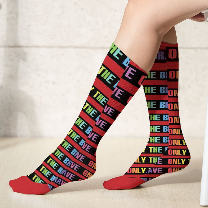 Lgbtq+ Only The Brave Socks (18X3.5 Icnhes) / Pack 1 Kd869