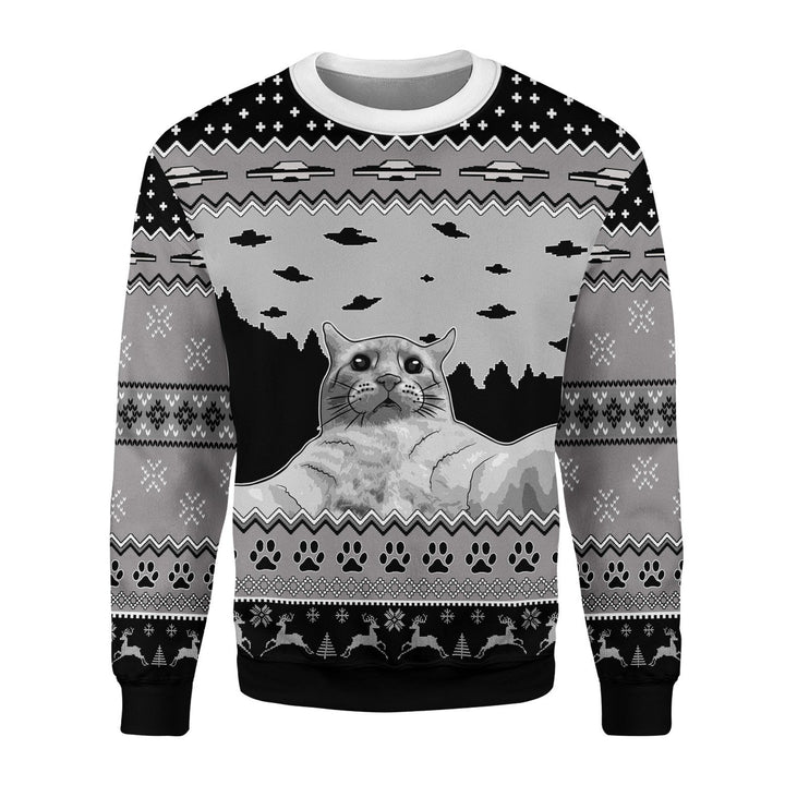 Ufo Cat Funny Selfie Ugly Christmas Sweater / S Qm1811