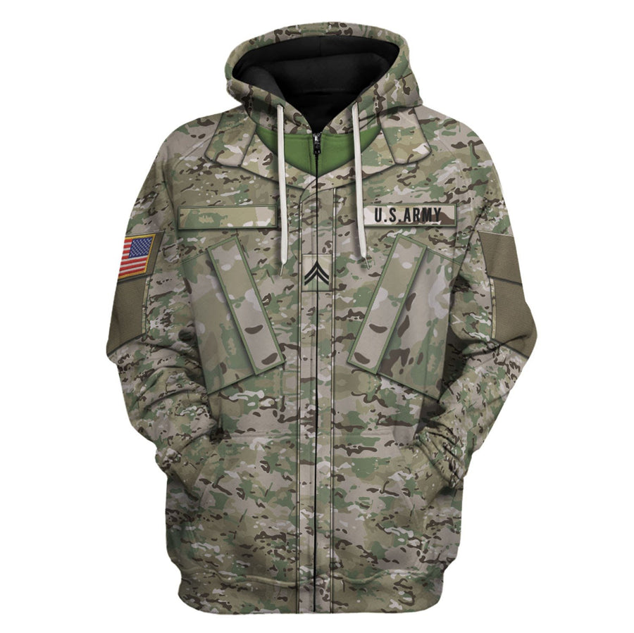 Us Army Combat Uniform Private E2 Zip Hoodie / S Vn456