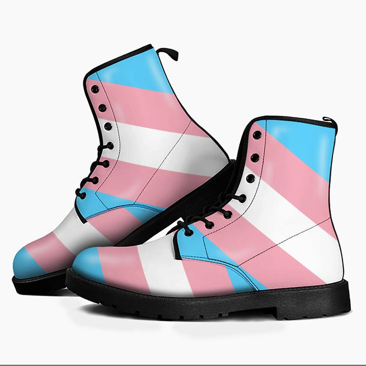 Transgender Pride Flag Leather Boots Men / 39 Kd730