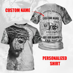Custom Name Your Wings Wear Ready But Our Hearts Are Not T-Shirt / S Qm572