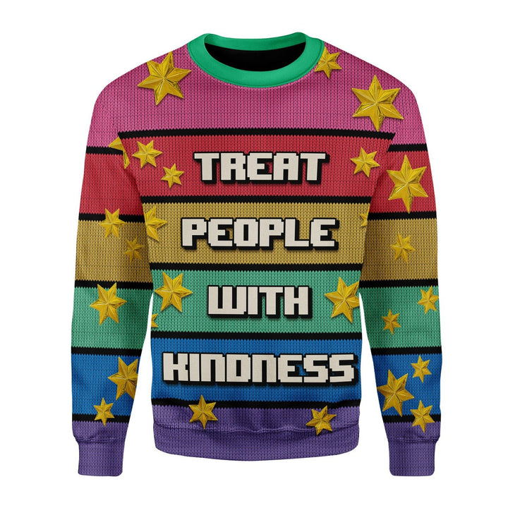 Treat People With Kindness Ugly Christmas Sweater / S Qr1678