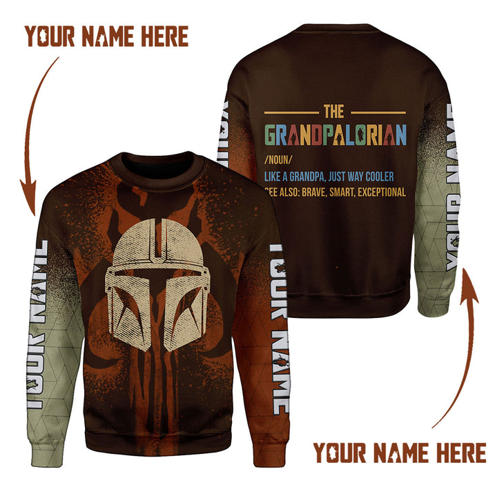 Personsalized Grandpalorian Like A Grandpa Just Way Cooler Fleece Long Sleeves