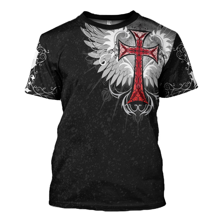 Jesus Old English Red Cross T-Shirt / S Qm1369
