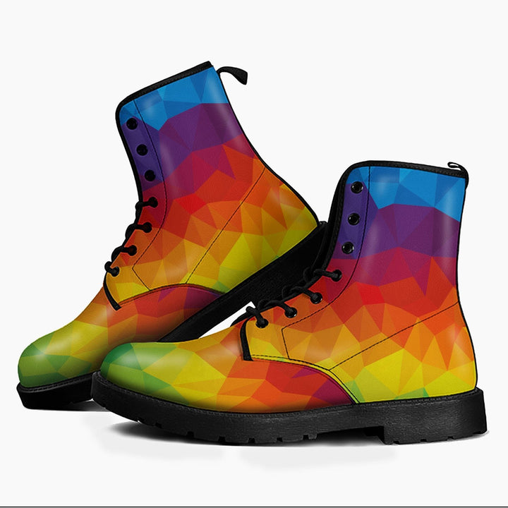 Lgbt Flag Leather Boots Men / 6 Qm1697