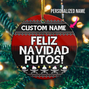 Personalize Feliz NavaDa Wood Ornament