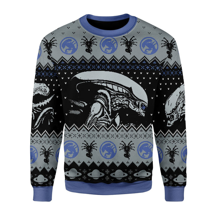 Alien Movie Xenomorph Christmas Ugly Sweater / S Kd824