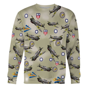 Usa World War 2 Fighter Planes Long Sleeves / S Qm622
