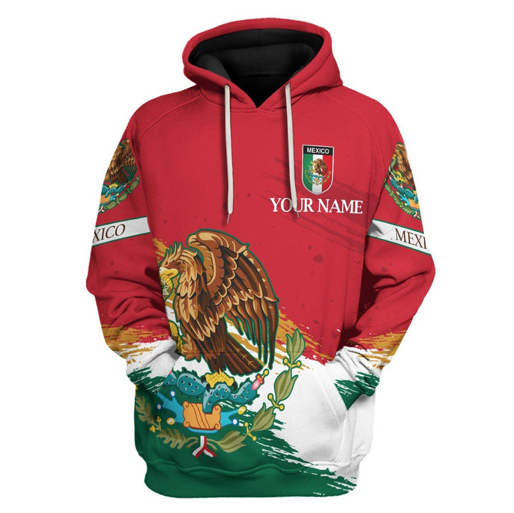 Mexico Coat Of Arms Custom Name Hoodie / S Qm1174