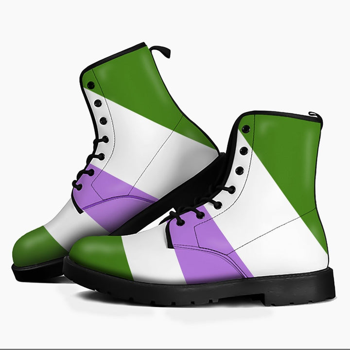Genderqueer Pride Flag Leather Boots Men / 39 Kd731