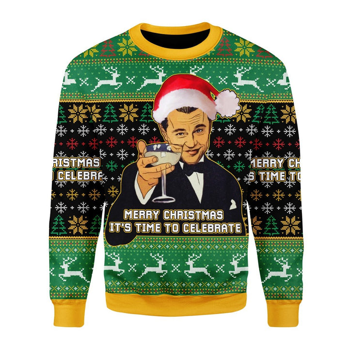 Merry Christmas Leo Meme Ugly Sweater Chrristmas / S G469