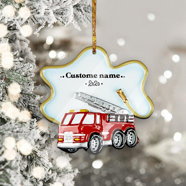 Qm1730 Firetruck Personalized Mica Ornament For Kids ( 9 X Cm - 3.5 Inches) / Pack 1