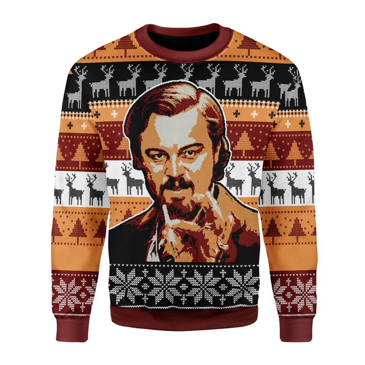 Leo Pointing Christmas Ugly Sweater Chrristmas / S G458