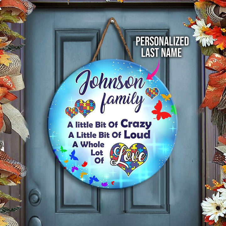 Autism Family Personalized Round Wooden Awareness / 11 Inches Qm1861