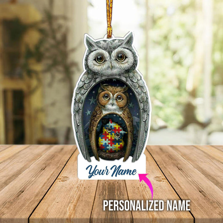 Personalized Autism Owl Family Ornament Mica ( 9 X Cm - 3.5 Inches) / Pack 1 Kd928