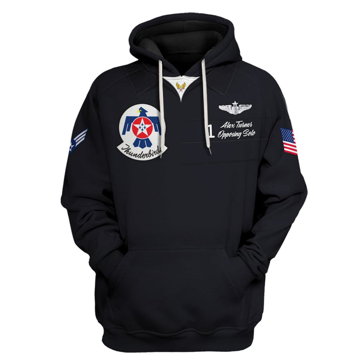 United States Air Force Thunderbirds Uniform - Custom Name On Chest Hoodie / S Vn358