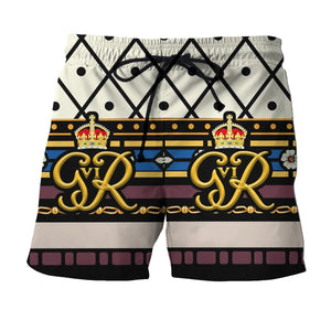 King George Vi Coronation Hawaiian Shirt Shorts / S Hp293
