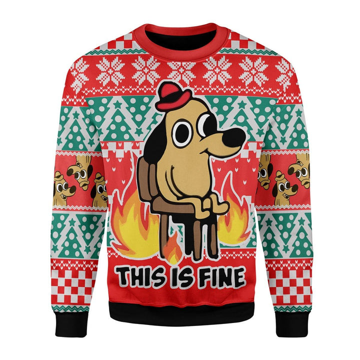 This Is Fine Meme Classic Ugly Sweater Christmas / S Qt1794
