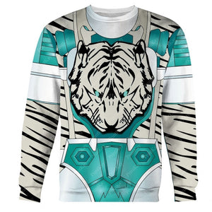 Tigertron White Tiger All Over Print Bw Long Sleeves / S Am16031