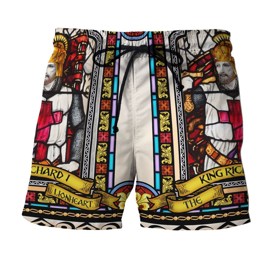 Richard I Of England Stained Glass Hawaii Shirt Shorts / S Hp302
