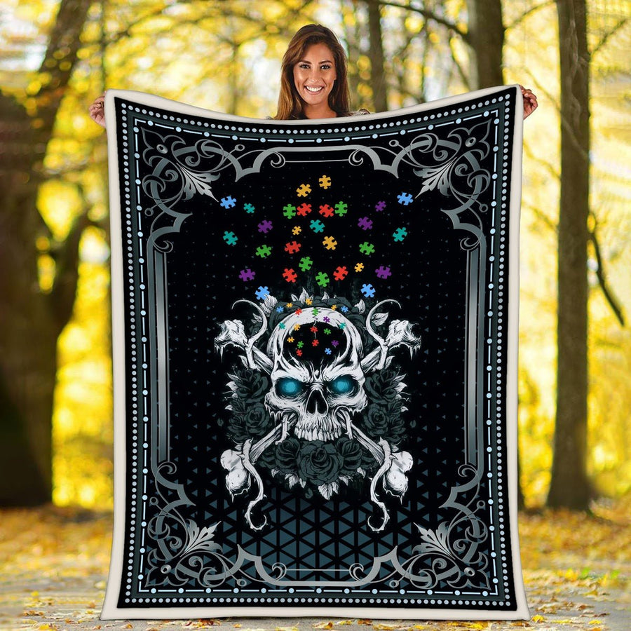 Autism Skull Blanket / S (51 X 59 Inches - 4 5 Feet ) G94