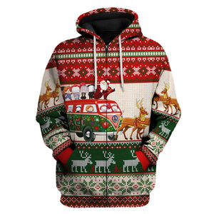 Santa With Horror Characters Christmas Sweater Zip Hoodie / S G121