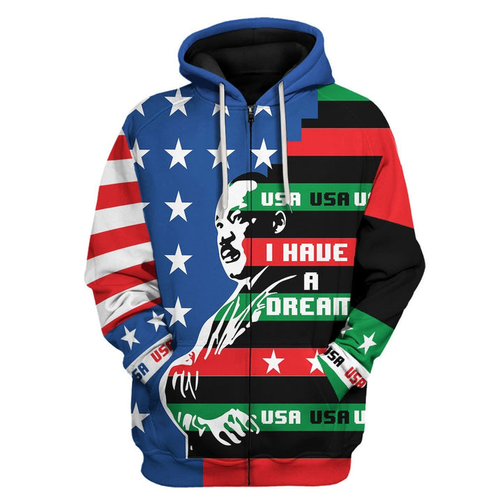 I Have A Dream Martin Luther King Jr 3D Fleece Zip Hoodie / S Kd817