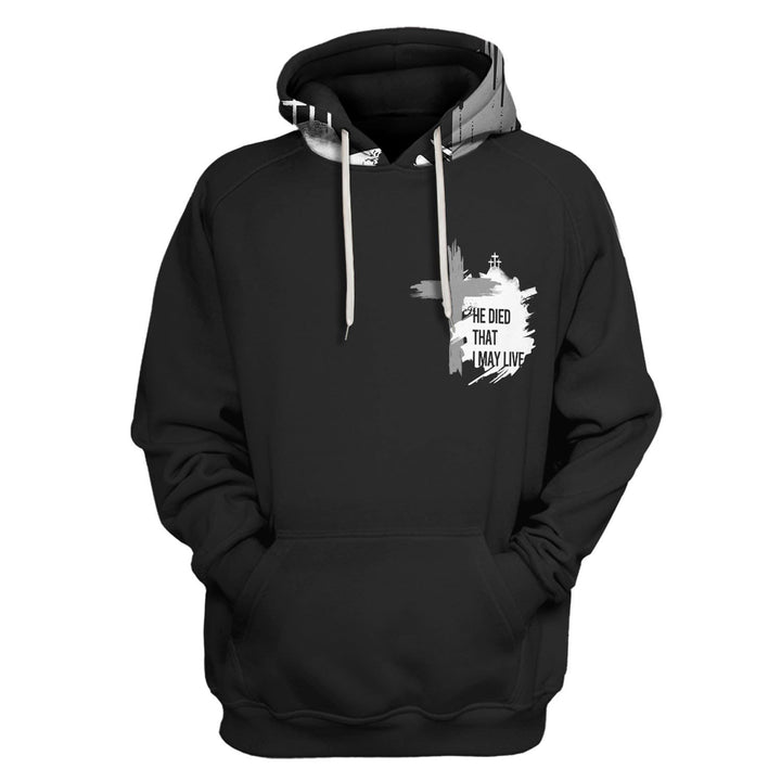 He Died That I May Live Cross Christian Hoodie / S Qm1366