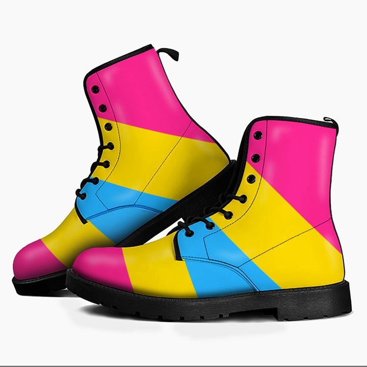 Pansexual Pride Flag Leather Boots Men / 39 Kd729