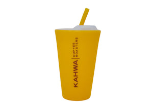 Kahwa Coffee Yellow Silipint with Lid & Straw