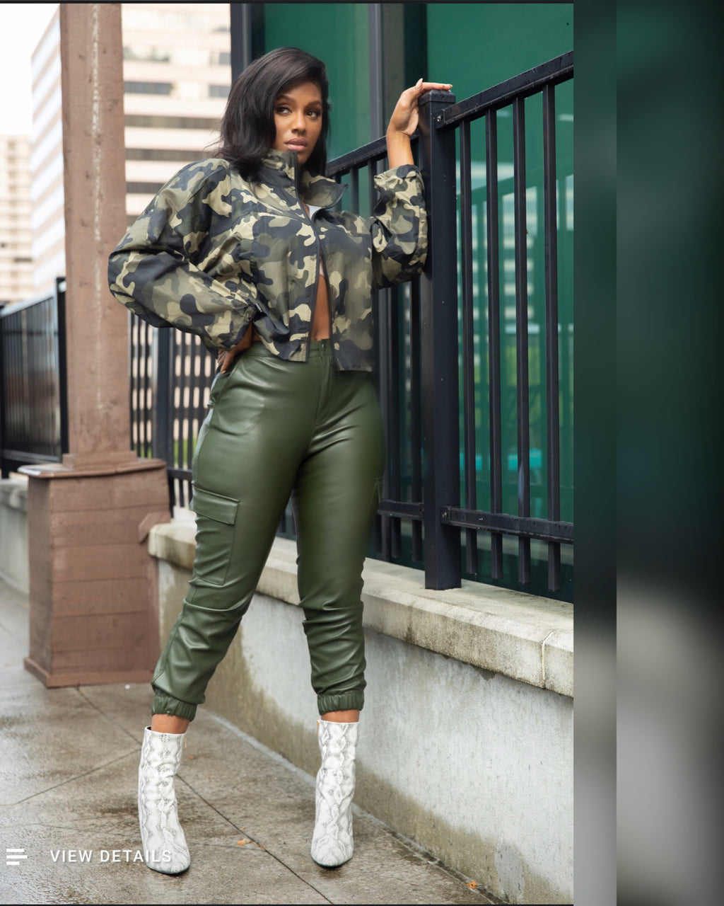 Olive Faux Leather Joggers